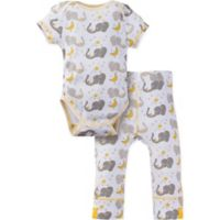 MiracleWear® Size 18-24M 2-Piece Posheez Snap 'n Grow Elephant Short Sleeve Bodysuit Set in Grey