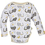 MiracleWear® Size 6-12M Posheez Snap 'n Grow Elephant Print Long Sleeve Bodysuit in Grey