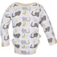 MiracleWear® Size 12-18M Posheez Snap 'n Grow Elephant Print Long Sleeve Bodysuit in Grey