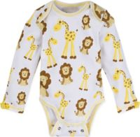 MiracleWear Size 0-6M Giraffe and Lion Bodysuit in Gold