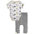 MiracleWear® Size 6-12M 2-Piece Posheez Snap 'n Grow Elephant Bodysuit and Pant Set in Grey