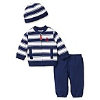 Little Me® Size 6M 3-Piece Nautical Stripe Cardigan, Hat, and Pant Set in Navy