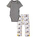 Miraclewear Size 0-6M 2-Piece Elephant Snap'n Grow Bodysuit and Pant Set in Grey/Yellow