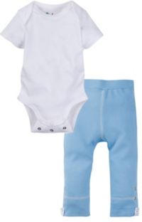 Miraclewear Size 12-18M 2-Piece Posheez Snap'n Grow Bodysuit and Pant Set in White/Blue