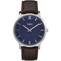Timex® Metropolitan Skyline Men's 40mm Watch in Silvertone Brass with Dark Brown Leather Strap