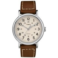 Timex® Weekender Men's 40mm Watch in Silvertone with Cream Dial and Brown Leather Strap