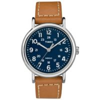 Timex® Weekender Men's 40mm Watch in Silvertone with Blue Dial and Brown Leather Strap