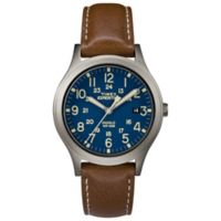 Timex® Expedition Scout Unisex 36mm Watch in Silvertone Brass with Brown Leather Strap