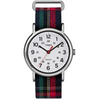 Timex® Weekender Ladies' 38mm Watch in Silvertone with Blue Plaid Fabric Strap