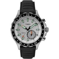 Timex® iQ+Move Men's 43mm Multi-Time Watch in Silvertone Brass with Black/White Leather Strap
