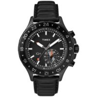 Timex® iQ+Move Men's 43mm Multi-Time Watch in Black Ion-Plated Brass with Black Leather Strap