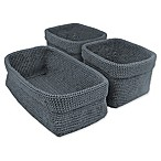 Design Imports 3-Piece Crochet Baskets Set in Stone Blue