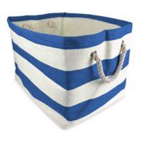 Design Imports Large Woven Paper Bin in Blue Stripe