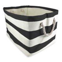 Design Imports Large Woven Paper Bin in Black Stripe