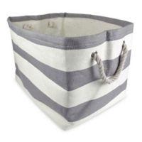 Design Imports Large Woven Paper Bin in Grey Stripe