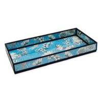 Floral Print Decorative Glass Vanity Tray in Blue