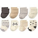 Hudson Baby® Size 6-12M 8-Pack Aztec Terry Rolled Cuff Socks in Cream/Grey