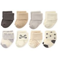 Hudson Baby® Size 0-6M 8-Pack Aztec Terry Rolled Cuff Socks in Cream/Grey