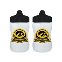 Baby Fanatic® University of Iowa 9 oz. Sippy Cups in Black/Gold (Set of 2)