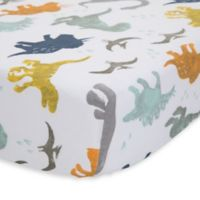 Little Unicorn Dino Friends Cotton Muslin Fitted Sheet in Blue/Green