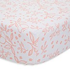 Little Unicorn Garden Rose Cotton Muslin Fitted Sheet in Orange/White