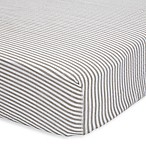 Little Unicorn Stripe Cotton Muslin Fitted Sheet in Grey