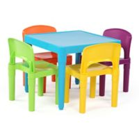 Tot Tutors Playtime 4-Piece Plastic Table & Chairs Set in Aqua