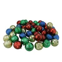 Northlight 3.25-Inch Shatterproof Multicolor Ornaments in Shiny Glass (Set of 50)