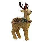 Northlight 16-Inch Reindeer with Frosted Wreath Christmas Ornament in Brown