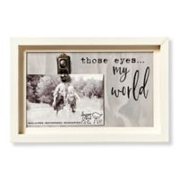 Sweet Bird & Co. Artful Wood Those Eyes My World 4-Inch x 6-Inch Clip Picture Frame in Grey