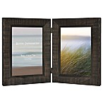 Rustic Wood 2-Photo Collage Picture Frame in Walnut
