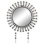 Three Star Bejeweled 26-Inch Round Wall Mirror with Keychain Hooks in Antique Silver