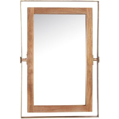 ren wil crescent 36 inch x 24 inch brass and wood - Wood Framed Mirrors