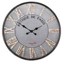 Southern Enterprises Kellan 27.5-Inch Round Rustic Farmhouse Wall Clock