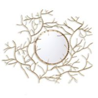 Southern Enterprises 38-Inch x 32-Inch Branch Round Wall Mirror in Metallic Gold