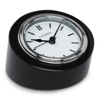 Citizen Workplace Silver-Tone/Black Crystal Base Desk Clock with Engravable Plaque
