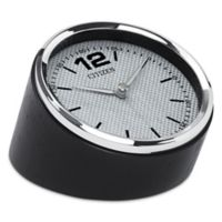 Citizen Decorative Accent Silver-Tone Frame/Carbon Fiber Dial Desk Clock with Black Wood Base