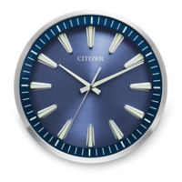 Citizen Gallery Brushed Silver and Dark Wood with Navy Blue Dial Wall Clock