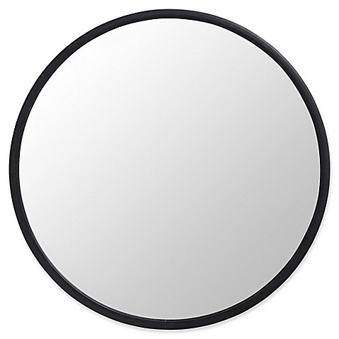 image of Umbra® Hub 24-Inch Round Wall Mirror in Black