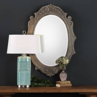 Image For Uttermost Serafina Scroll 42 5 Inch X 30 Oval Mirror 2
