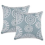 Embroidered Medallions Square Throw Pillows in Spa (Set of 2)