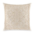 Rope Embroidered Square Throw Pillow in Natural