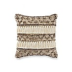Geometric Fringe Square Throw Pillow in Natural