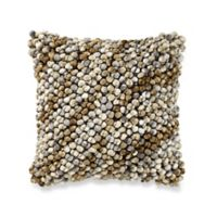 Nubby Yarn Square Throw Pillow in Taupe