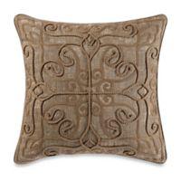Rope Damask Square Throw Pillow in Caramel