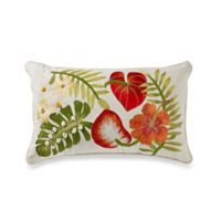 Embroidered Hibiscus Rectangle Throw Pillow in Red