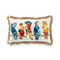 Embroidered Tropical Birds Rectangle Throw Pillow in Red
