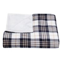 Thro Plaid Micromink Throw Blanket in Navy and White