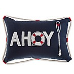 """Ahoy"" Oblong Throw Pillow in Navy"