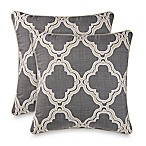 Geometric Square Throw Pillows in Grey (Set of 2)